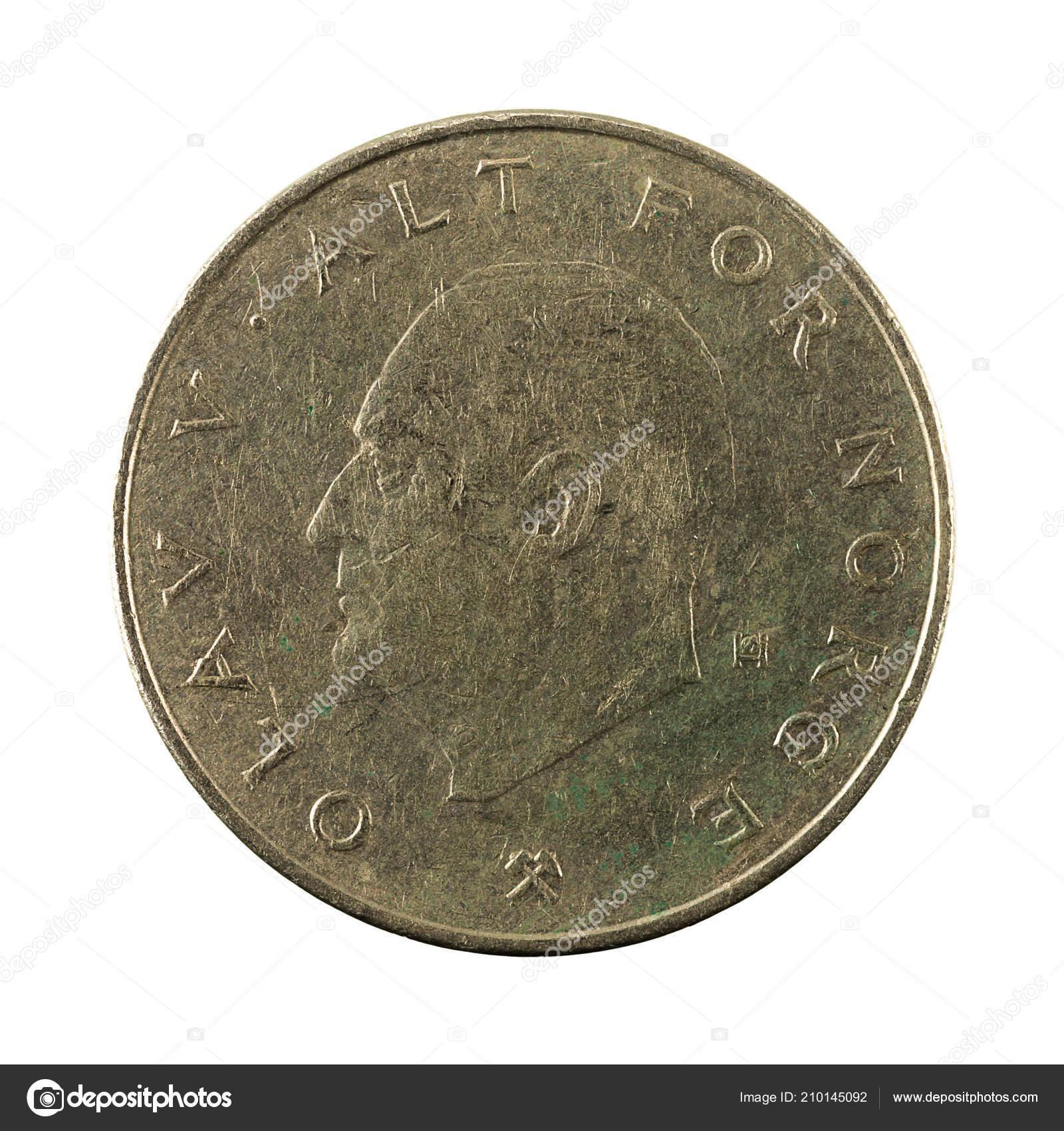 Norwegische Krone Münze 1982 Rückseite Isoliert Auf Weißem