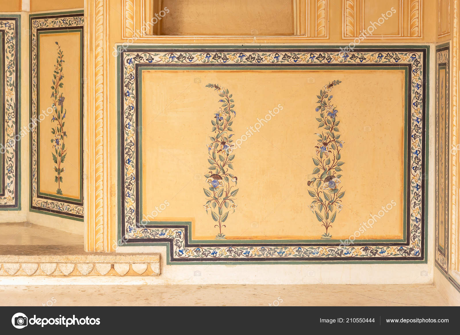 Floral Wall Painting Nahargarh Fort Jaipur Rajasthan India Stock