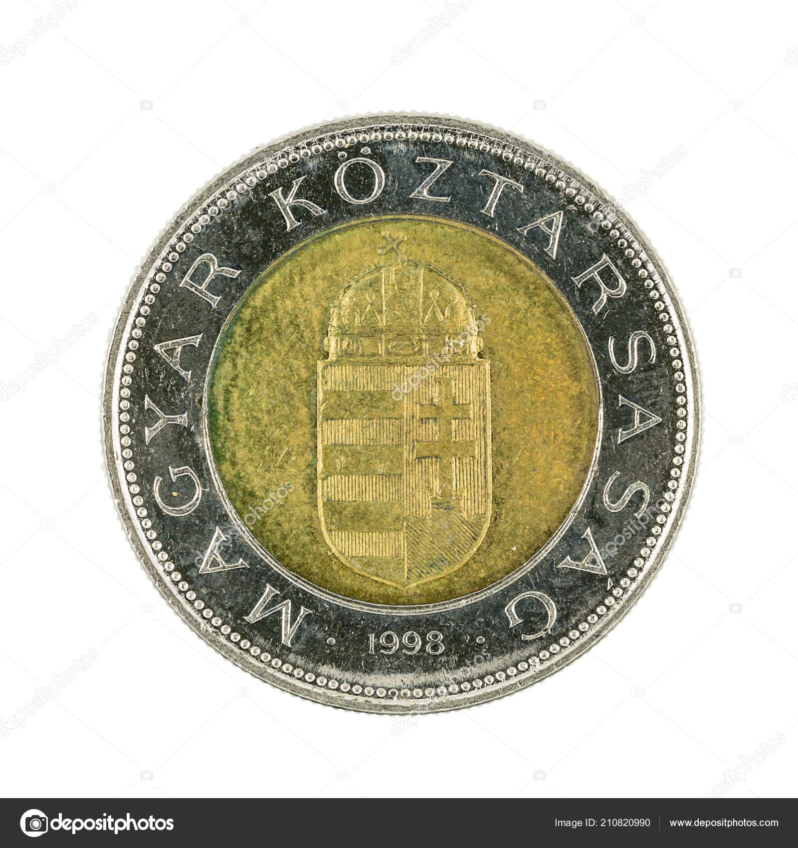 100 Ungarischer Forint Münze 1998 Isoliert Auf Weißem Hintergrund