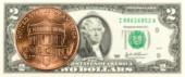 1 cent mince proti líci bankovky 2 nás dolar