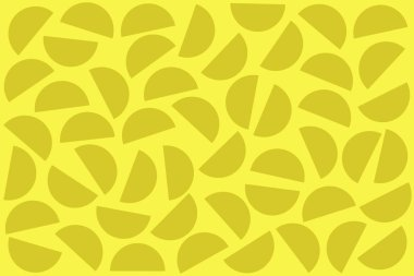 Khaki random semicircles on yellow background. Abstract geometric shapes pattern in retro style for fabric print, textile, decor.