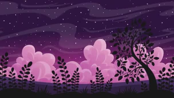 Noční krajina s mraky a hvězdy