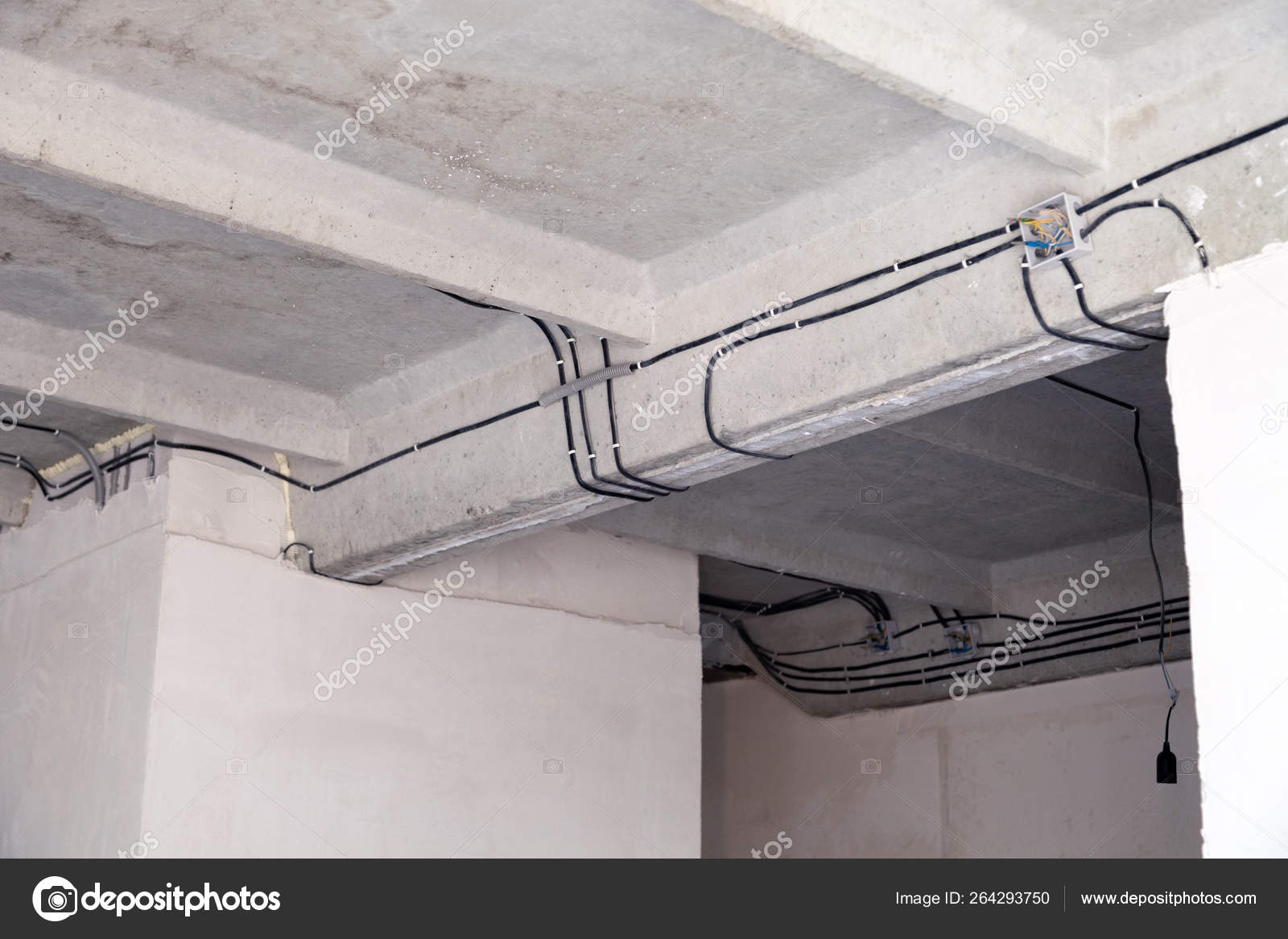 Cable laying ceiling. Electrical wires on wall. Wiring replacement.  Connecting light flat or office. Professional installation bulb, electrical  outlet, cables, wires, switches. Insulation — Stock Photo © mikrokon  #264293750Depositphotos