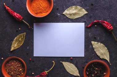 Frame for text of spices, red, dried peppers, bay leaves on dark background. Copy space.