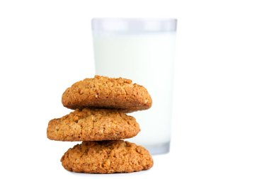 Isolated oatmeal cookies and cereals on a white background