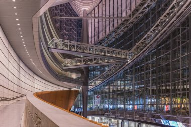 TOKYO, JAPAN - August 16 2018: Inside view of Tokyo International Forum built in 1996 by Uruguayan architect Rafael Violy near Yurakucho station. It consists of 14 floors including 3 in the basement and consists of four buildings and a glass atrium.
