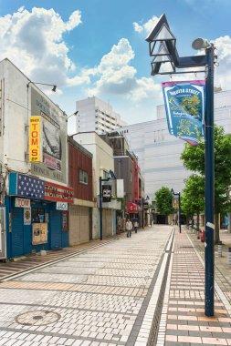 yokosuka, japan - july 19 2020: Entertainment district of Dobuita street called Dobuita-dori Shopping Street or Honmachi Shotenkai famous among the young sailors of the Yokosuka Naval Base.