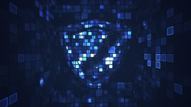 Abstract blue cyber digital technology seamless looping motion graphic animation. Internet protection security concept. Shield computer virus hacker attack.