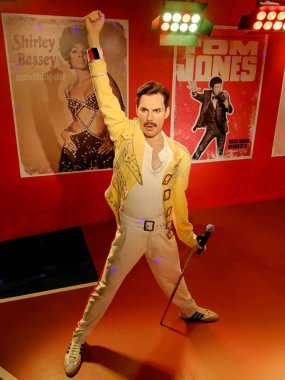 BLACKPOOL, JANUARY 14: Madame Tussauds, UK 2018. Wax statue of Freddie Mercury, best known as the lead vocalist of the rock band Queen.