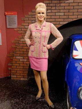 BLACKPOOL, JANUARY 14: Madame Tussauds, UK 2018. Wax figure of Joanna Lamond Lumley is an English actress, former model, author and activist.