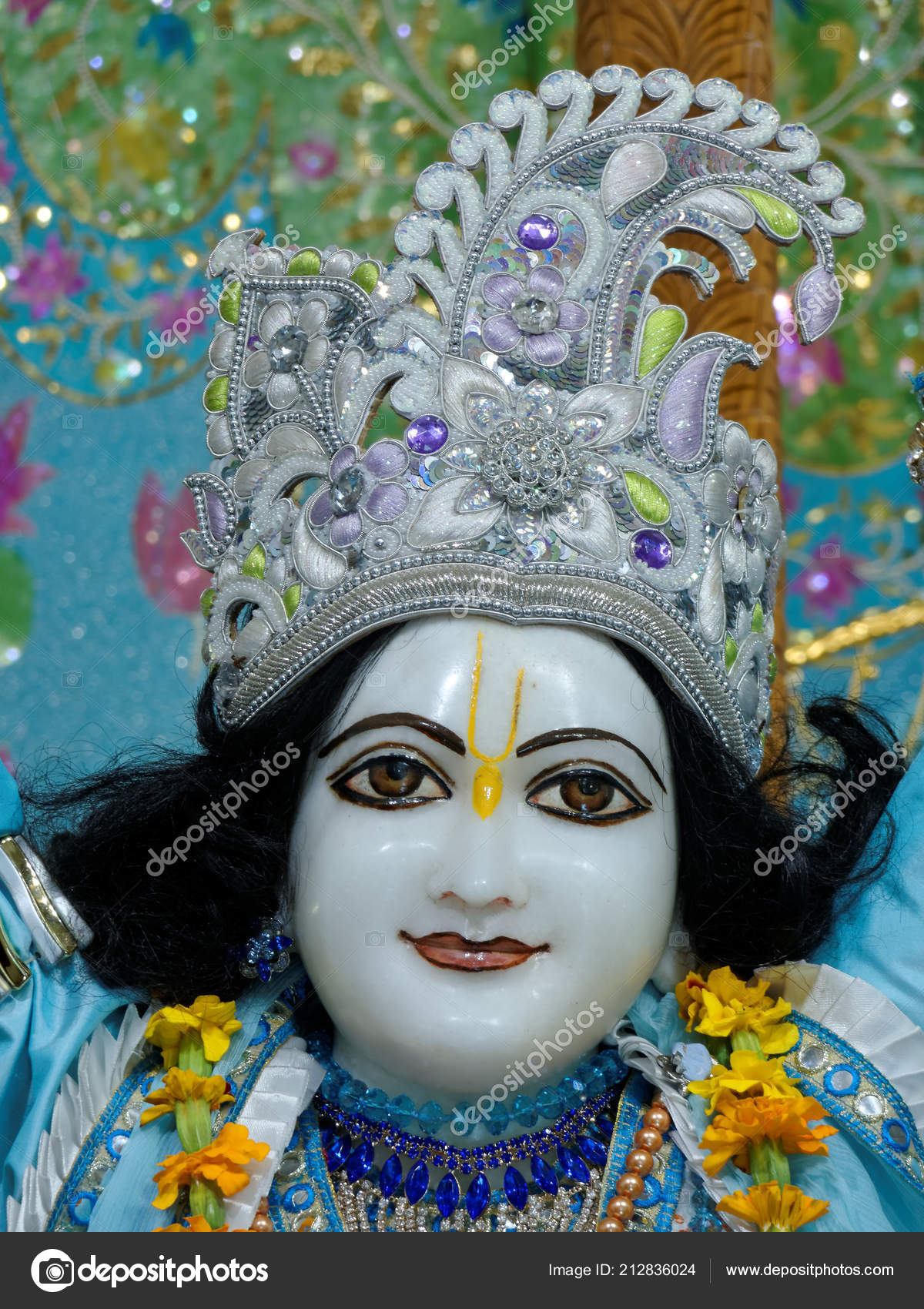 paris august main altar hare krishna temple called iskcon radha