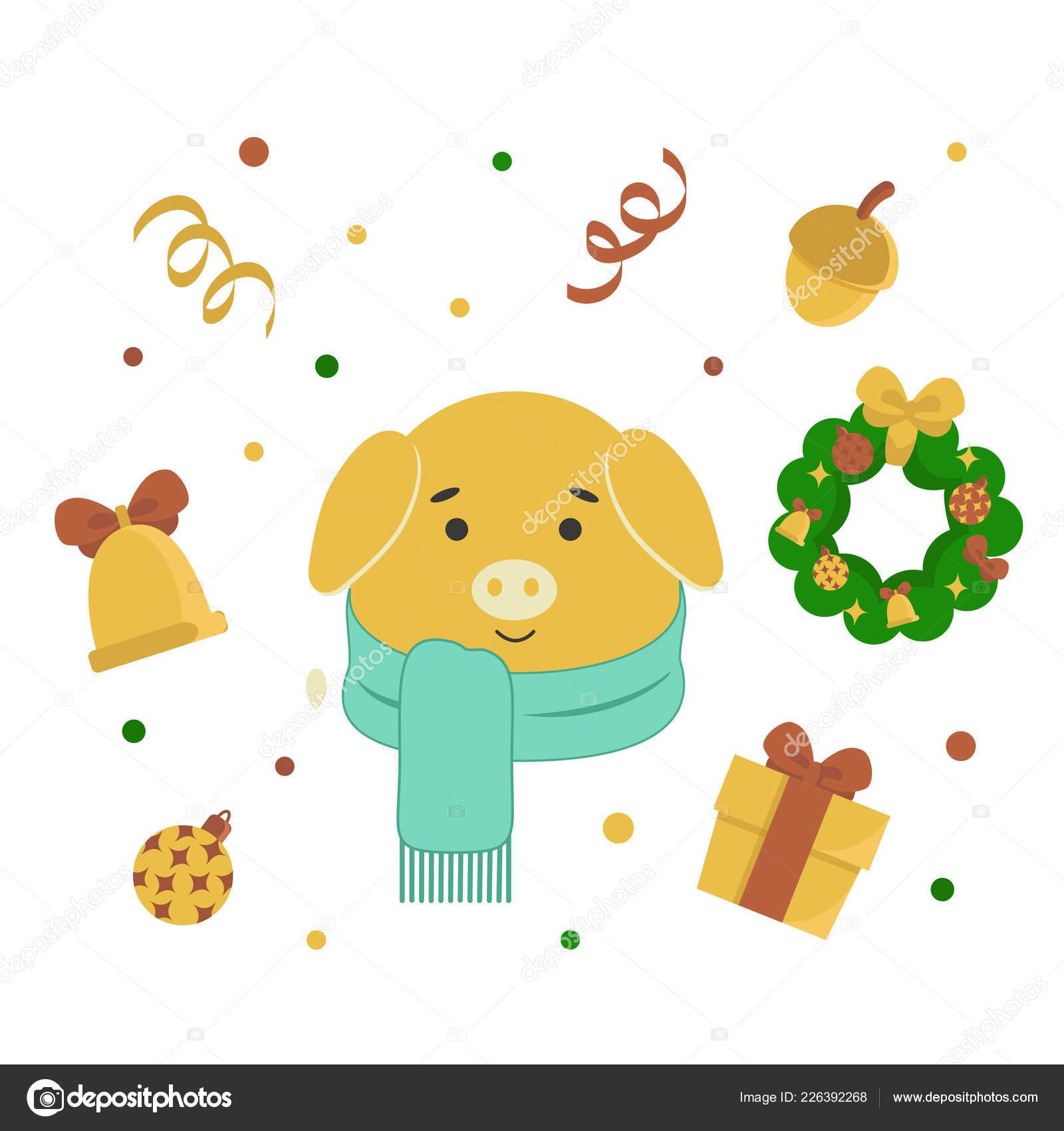 Design Weihnachten Neujahr Schwein Im Cartoon Stil Stockvektor