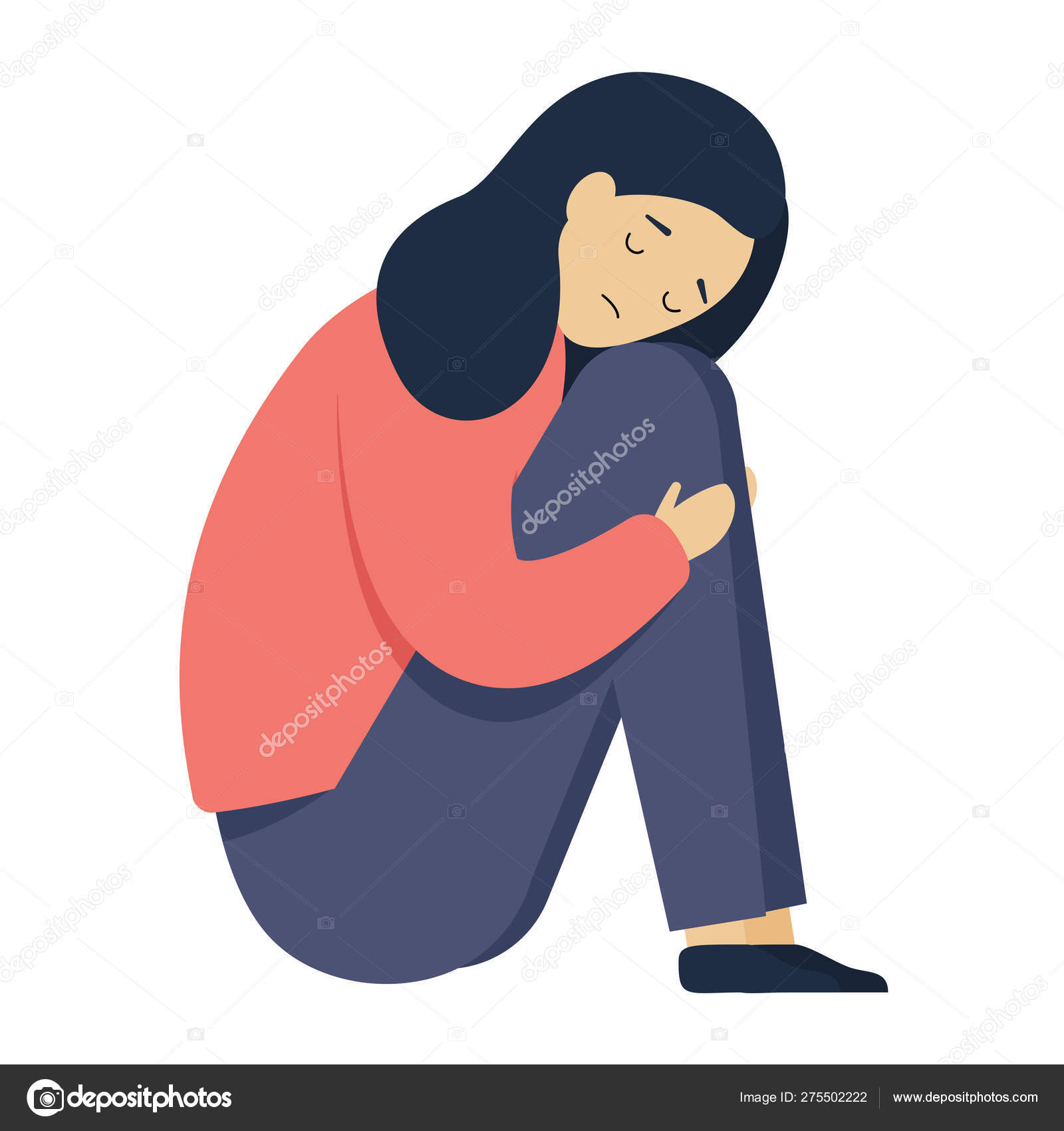 Sad Girl Young Woman Sitting Hugging Her Knees And Head Down Cartoon Character In Depression Stock Vector C Katebek 275502222