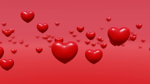 Červené srdce levitovat bokeh pozadí, animace