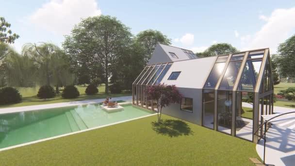 moderne skandinavische Haus außen Sommer