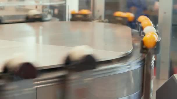 Flexible transport system, railing conveyor belt moving balls. Transporting processing between stations. Automation production process, technology of electronics development. Automated robot system