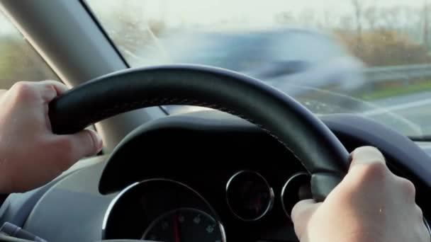 Mani sul volante e cruscotto auto durante il giorno di guida fuori città. Strada in campagna vicino a campi verdi. Il trasporto non focalizzato sullautostrada si incontra a metà della finestra anteriore. Pannello di controllo, vista sitter allinterno della vettura. Trasporto in paese