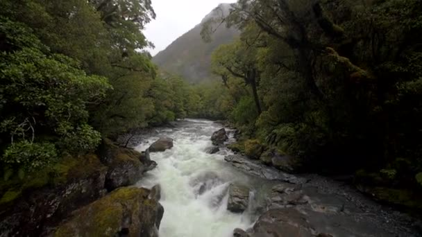 fast flowing river handheld slow motion shot panning down a