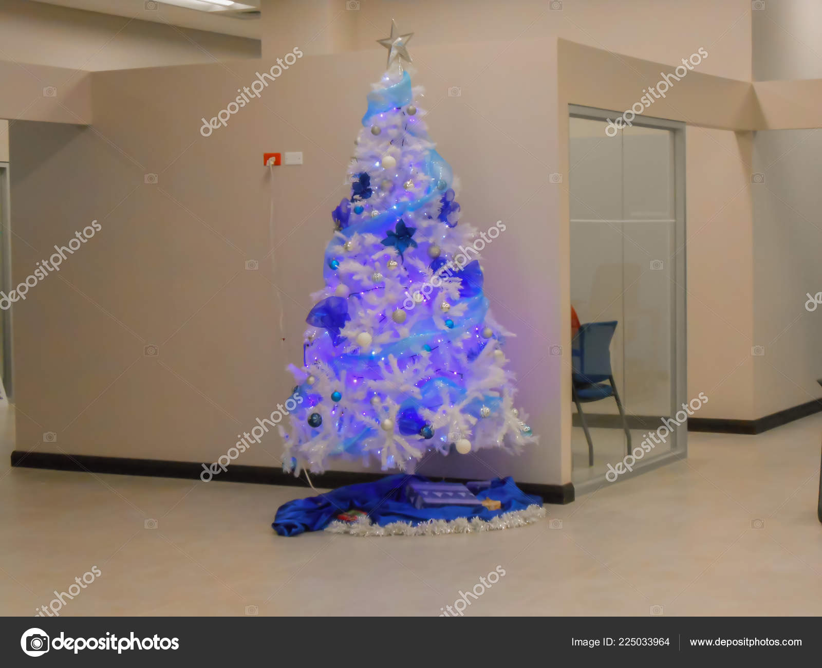 Indoor Background Cream Colored Wall Tall Well Arranged Blue Christmas Stock Photo C Jacdephotos 225033964