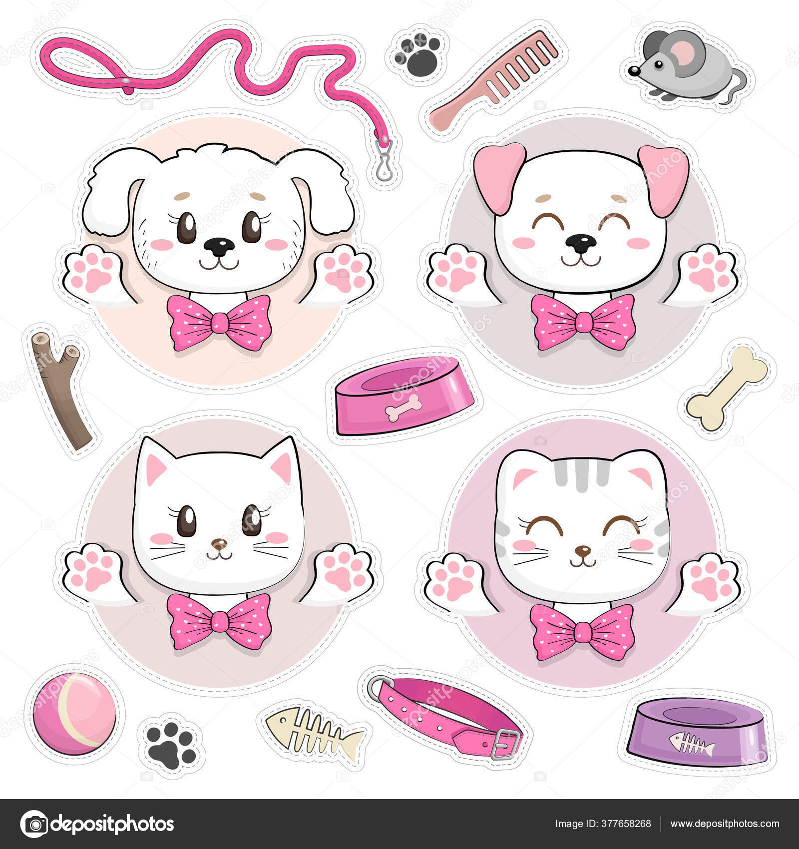 Set Stickers Cute Kittens Puppies Stuff Funny Baby Cats Dogs Stock Vector C Werramka 377658268