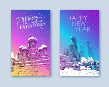 Trendy cover template. Winter city. Merry Christmas and New Year card design.Russia. Moscow.Red square St. Basil's Cathedral. Moscow city. Business Center Hand drawn sketch vector illustration