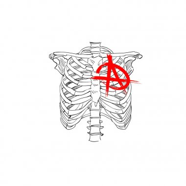 Chest skeleton with anarchy symbol. Punks not dead. Fashion tsirt design. Hand drawn vector illustration.