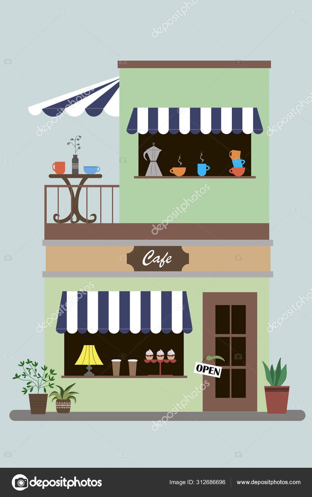 Cafe Shop Exterior Street Restraunt Building Stock Vector C Uu777 312686696