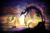 karikatúra sárkány és vitorlás hajó, egy másik világban