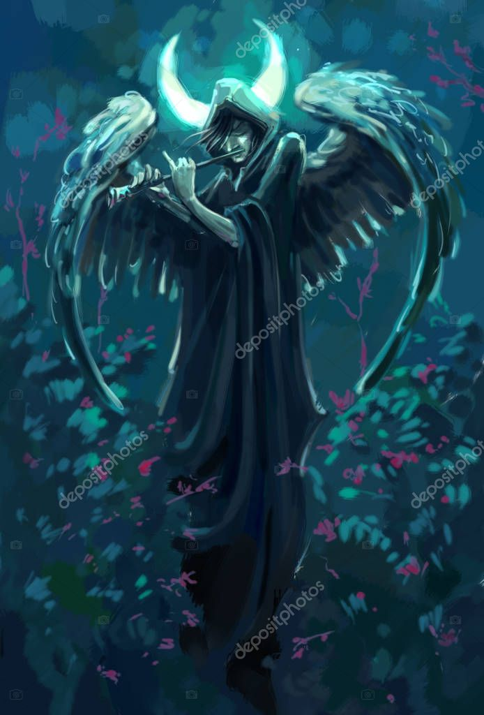 gloomy flutist with angel wings under the moon