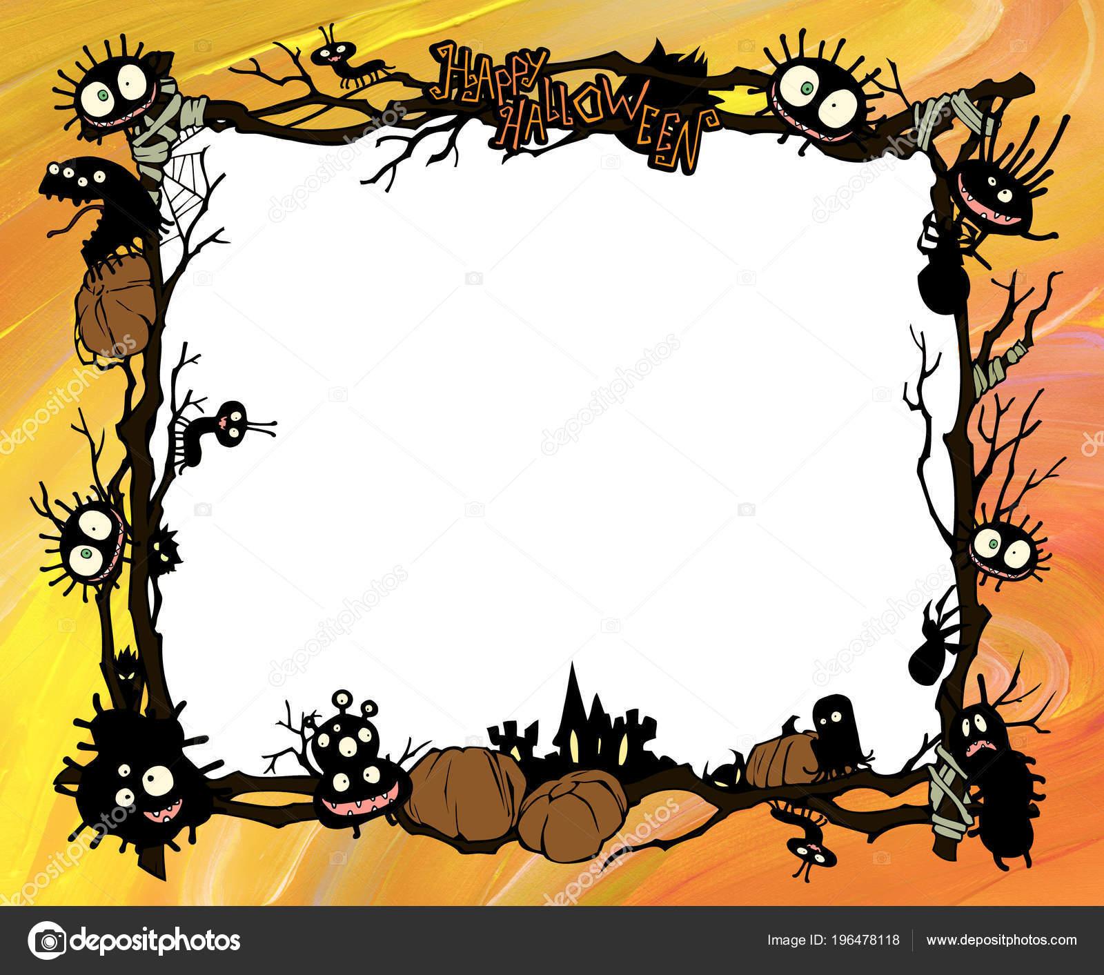 cartoon halloween frame illustration decorated diverse evil bizarre