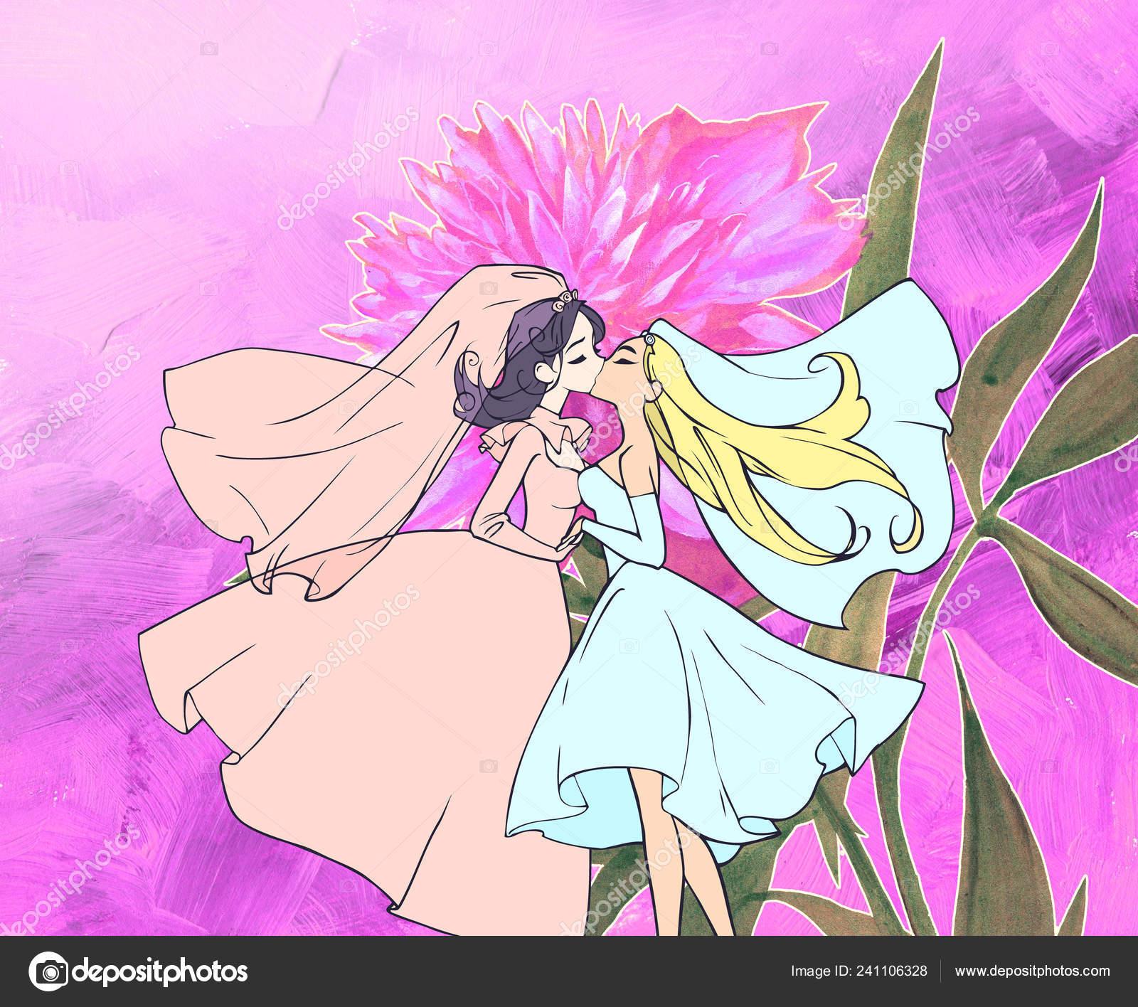 Anime In Love Wallpaper Beautiful Cartoon Anime Wedding Illustration Two Pretty Homosexual Women Getting Stock Photo C A Petruk 241106328