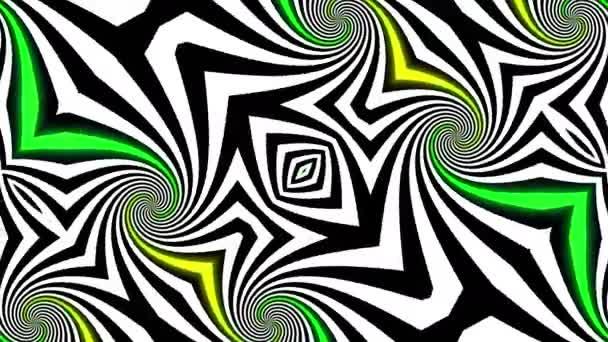 Abstrakte psychedelische Illusion Kaleidoskop schwarzen und weißen Linien Hintergrund. Ultra Hd, 4k 3840 x 2160, Schleifen