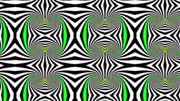 Absztrakt pszichedelikus illúzió Kaleidoszkóp fekete-fehér vonalak háttér. Ultra Hd, 4k 3840 x 2160, hurok