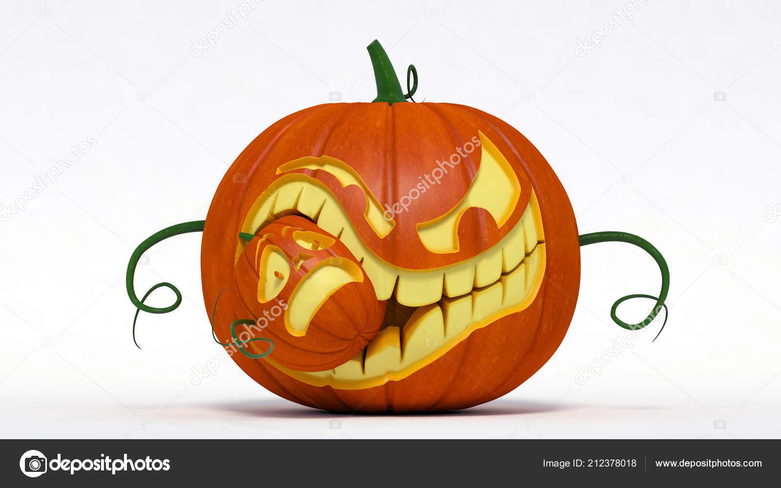 Halloween Evil Jack Lantern Pumpkin Eating Small Pumpkin Illustration Stock Photo C Thiagommelo Gmail Com 212378018