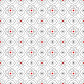 Modern vector seamless models of the repeating geometrical ornaments. Harmonious combination of red and black squares. Apply on packing, wall-paper, cards.