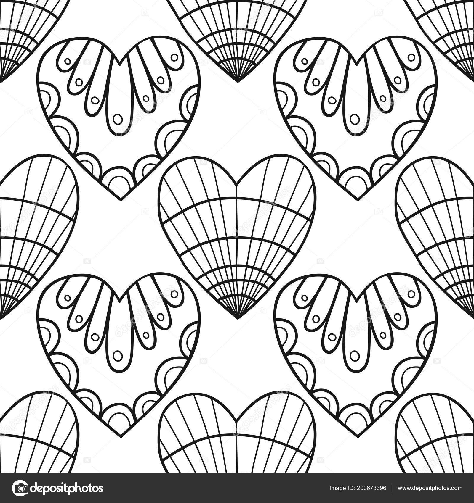Dekoratif Kalpler Kitap Sayfa Boyama Için Siyah Beyaz Resim Dikişsiz