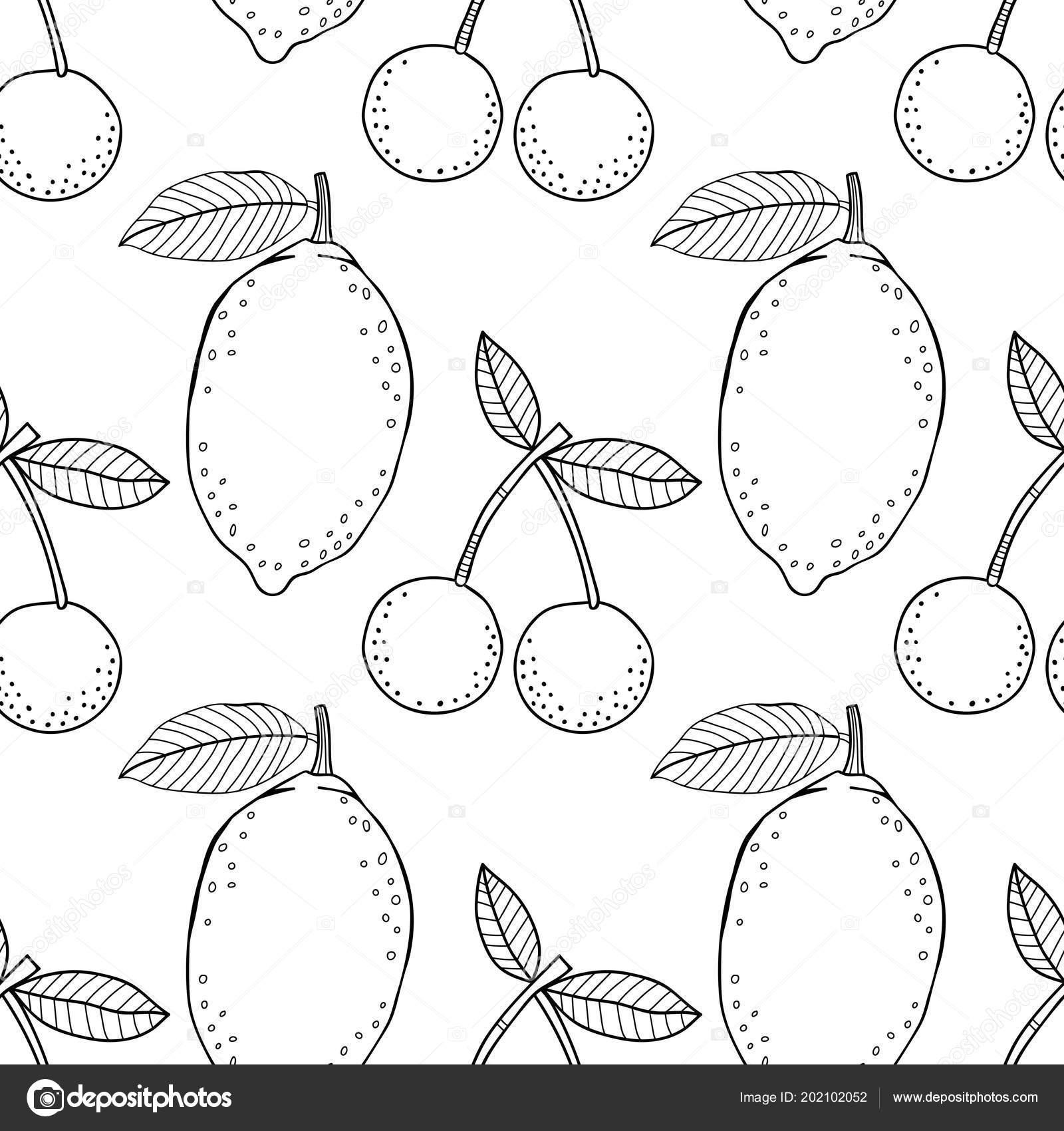 Limon Kiraz Kitap Sayfa Boyama Için Siyah Beyaz Resim Meyve Stok