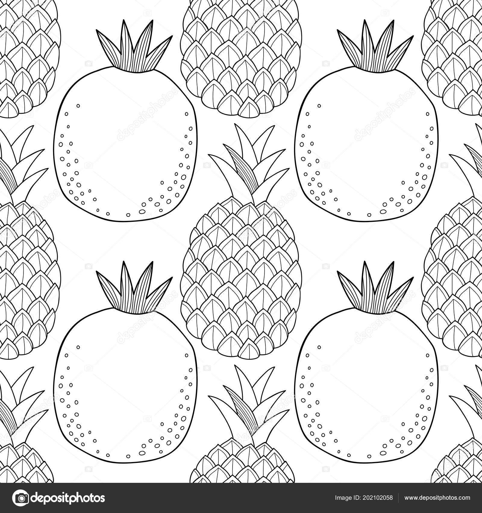 Ananas Nar Kitap Sayfa Boyama Için Siyah Beyaz Resim Tatlı Stok