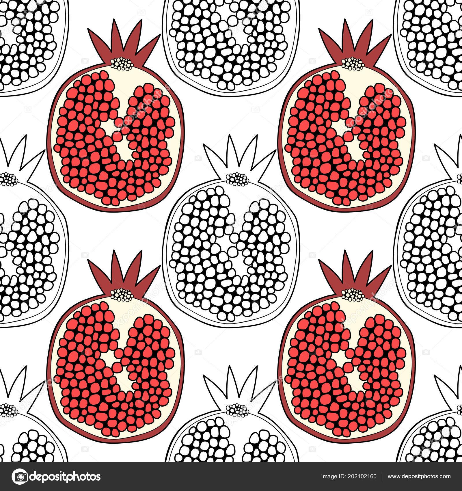Nar Kitap Sayfa Boyama Için Siyah Beyaz Resim Tatlı Meyve Stok