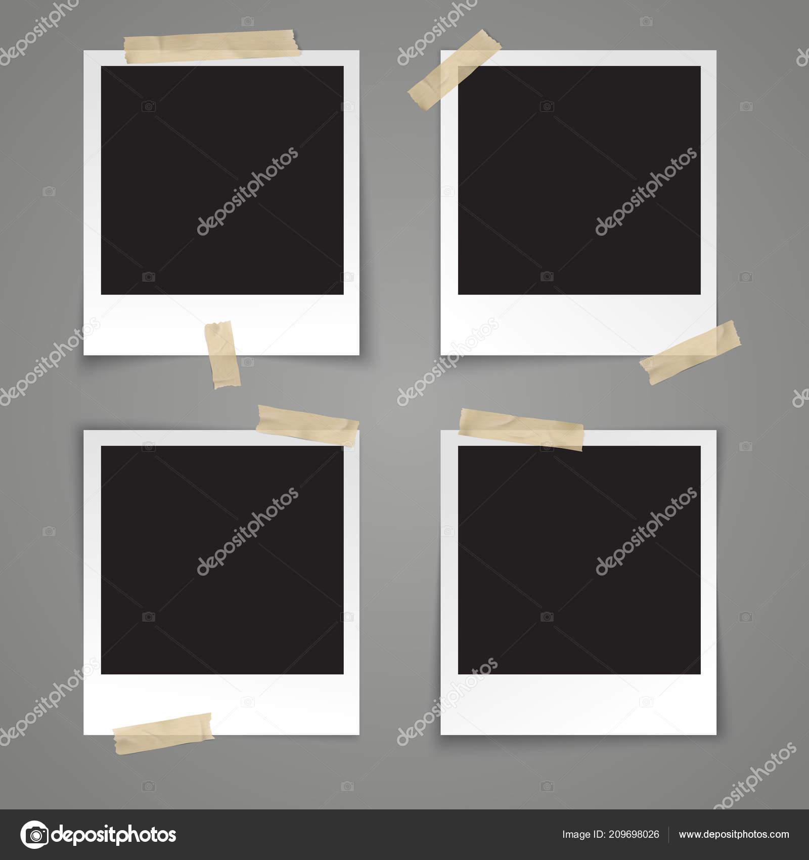 Realistic Vector Illustration Photo Frame Template Transparent