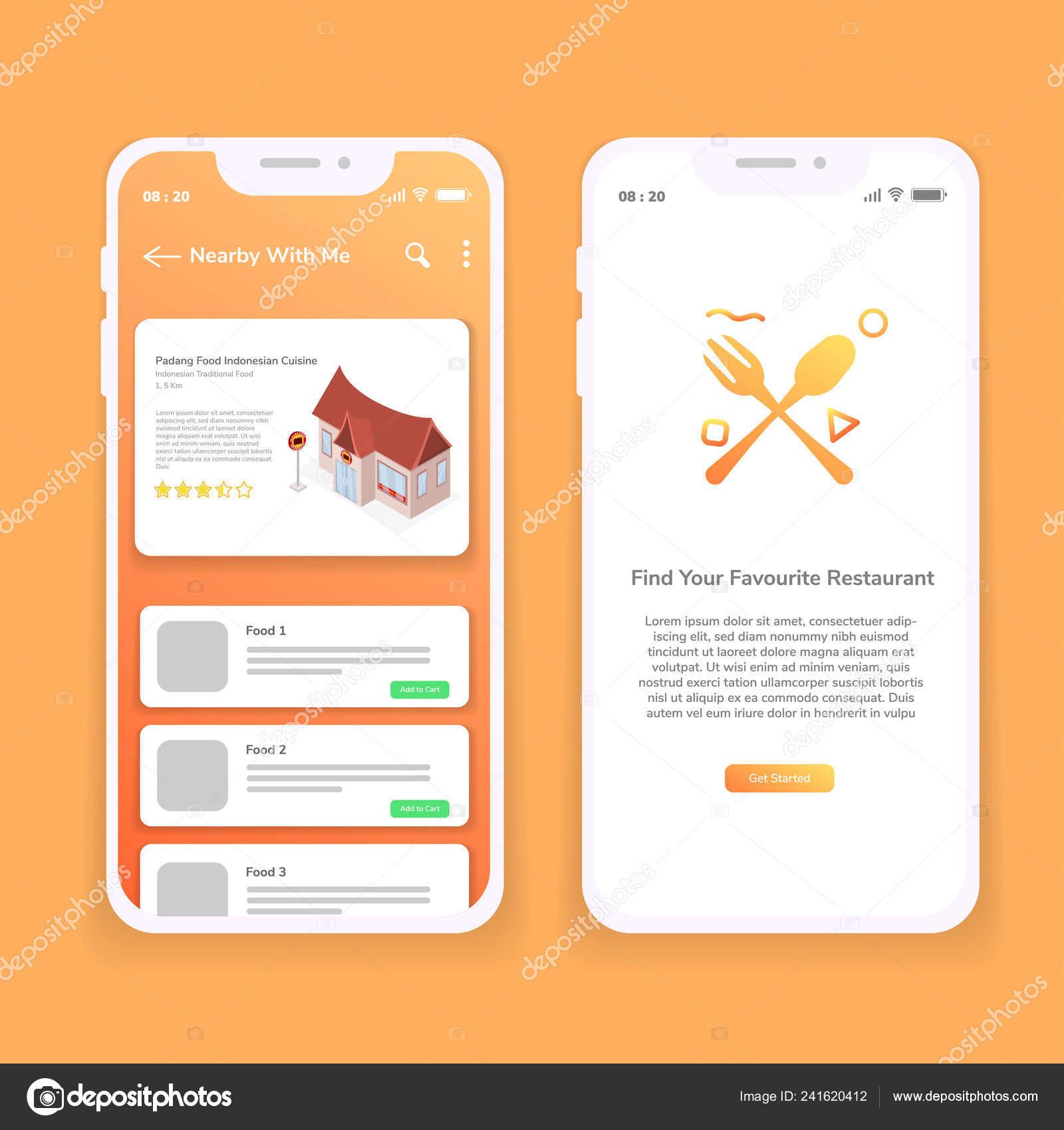 Restaurant Finder Mobile App Illustration Design Stock