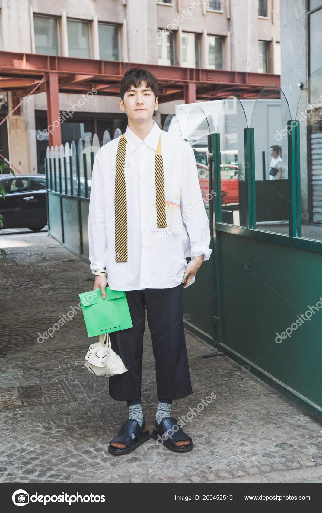 Milan Italy June Fashionable Man Poses Marni Fashion Show