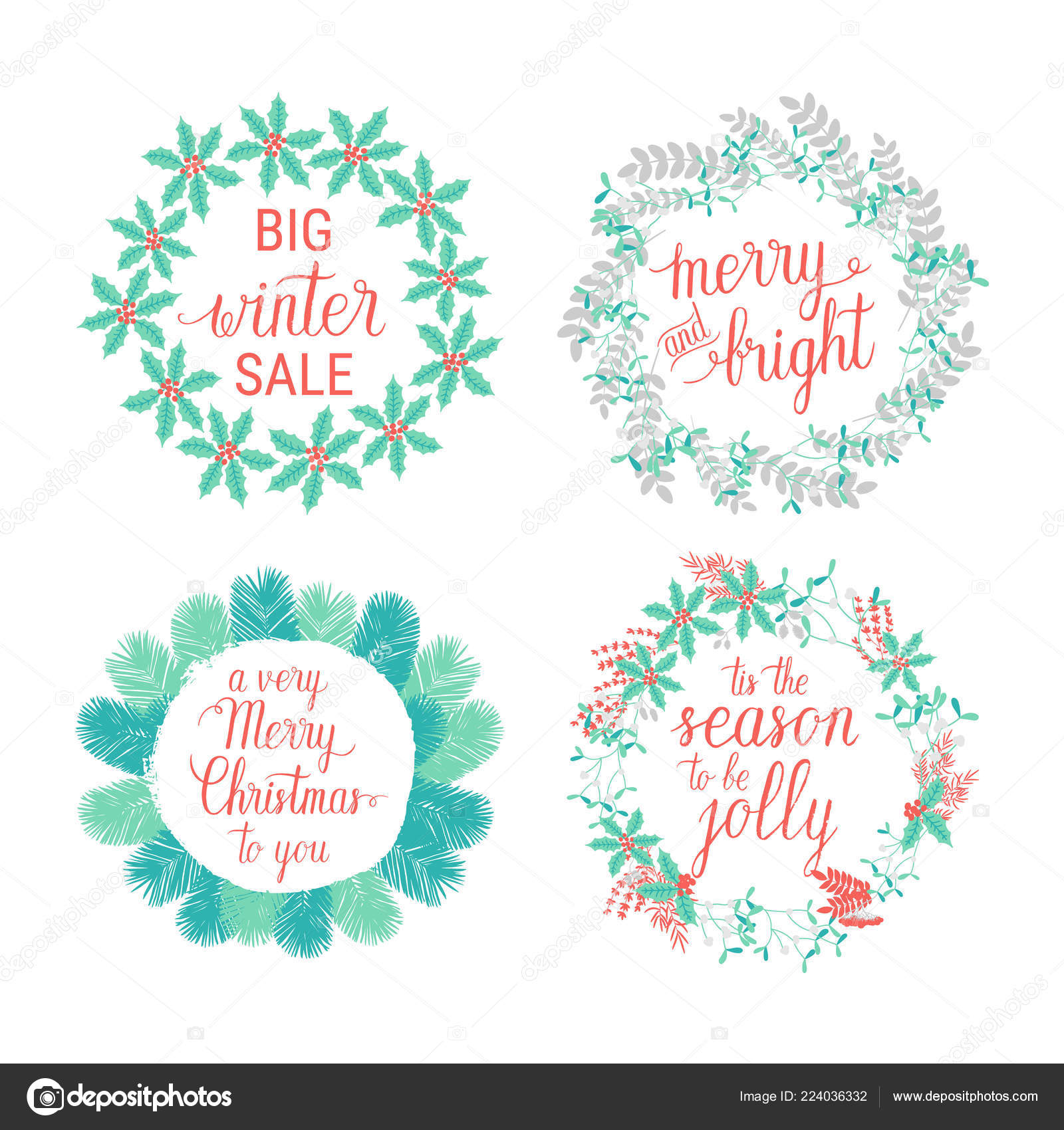 merry and bright happy holidays happy new year tis the season to be jolly greeting cards set vector winter holidays wreaths with hand lettering
