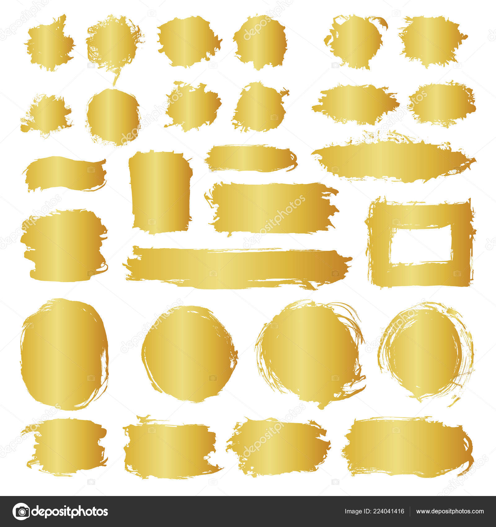 8c60f30fc140 Mega collection of hand drawn golden gradient abstract paint brush strokes.  Vector set of shapes