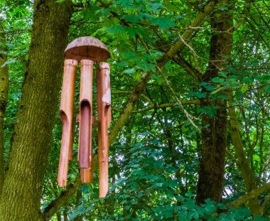 traditional wooden wind chime hanging in a tree in the forest, nature and spiritual background
