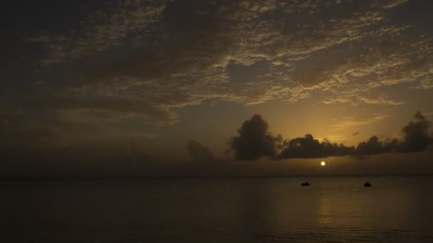 Beautiful time-lapse of the sunset over the ocean somewhere in Caribbean