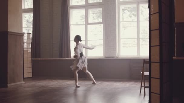 Ballerina Makes Jump Dance Stretches Out Twine Ballet Dance