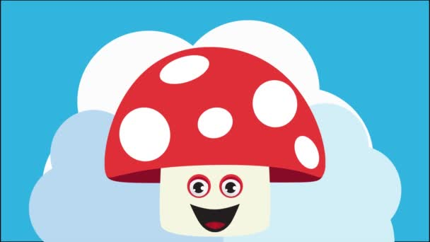 Animation made with illustrations of mushrooms with different expressions
