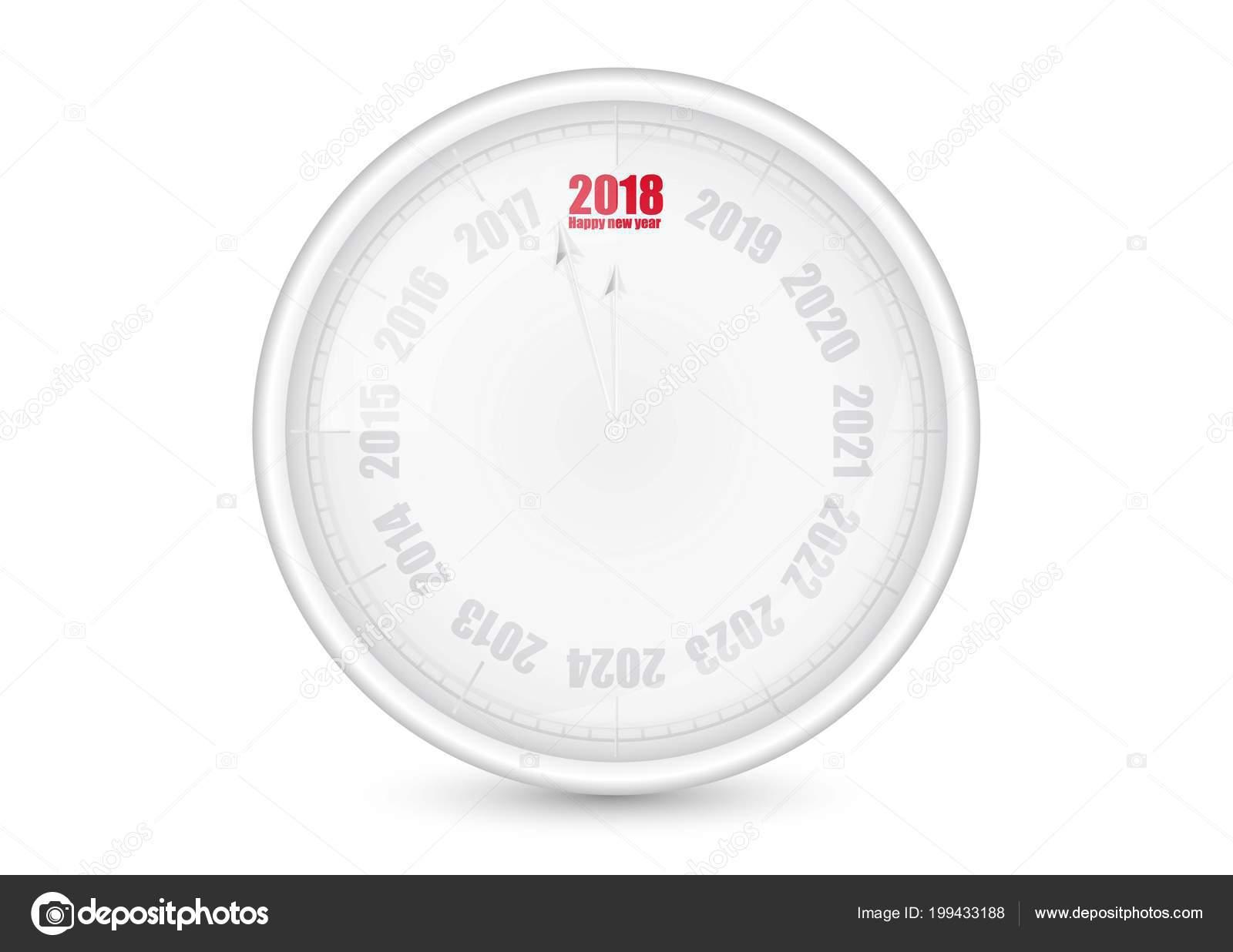 Horloge bureau bonne année mur blanc illustration vectorielle