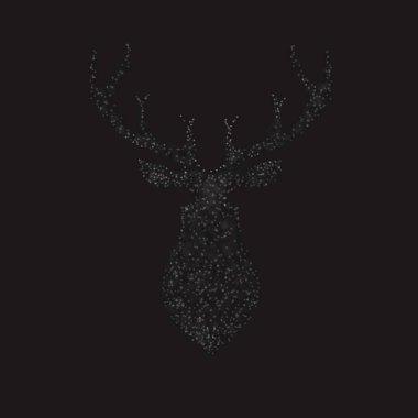 Deer bokeh isolated on black background. vector illustration